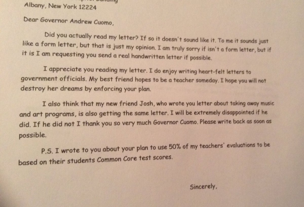 A Follow-Up on Maggie's and Josh's Letters to Governor Cuomo